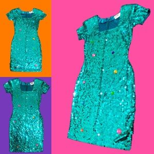 Turquoise sequins colorful gems dress